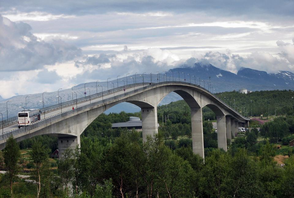 Bridge in Norway, North of the Polar Circle, summertime