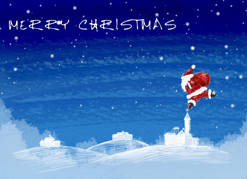 Free download high resolution image - free image free photo free stock image public domain picture  Christmas card with Santa Christmas card with Santa on a winter