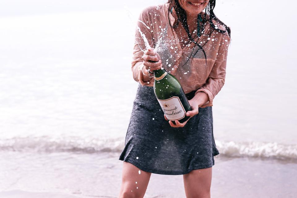 Champagner nach erfolgreichem Anlageerfolg (Backtest)