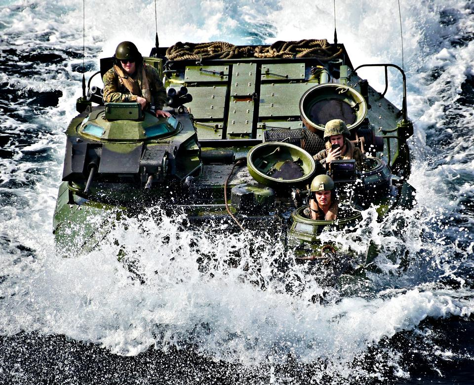 A U.S. Marine Corps amphibious vehicle