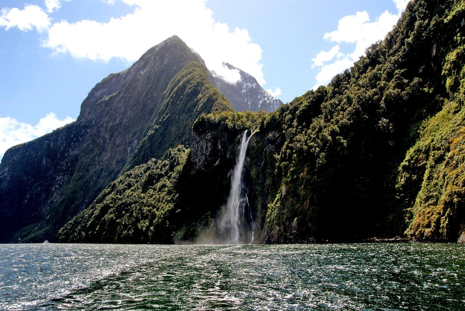 Stirling Falls on Milford Sound, Southland, New Zealand