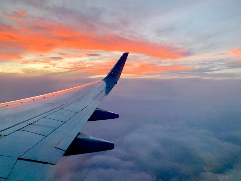 Free download high resolution image - free image free photo free stock image public domain picture  Wing of airplane reflecting sunset over the clouds