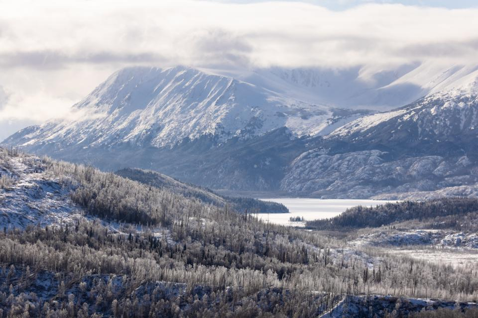 Winter views of the mountains in the Kenai Wilderness